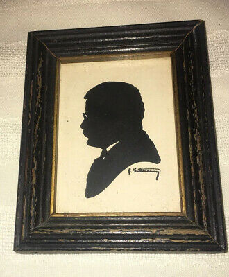 Vintage Antique Teddy ROOSEVELT Hand Painted SILHOUETTE OLD VERY NICE