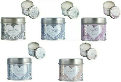 Starched Linen Scented Candle Tin Said With Sentiment Arora Design 1 Supplied