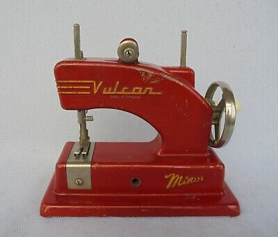 Vulcan Minor Child's Red Metal Toy Sewing Machine ( Working ) Made In England