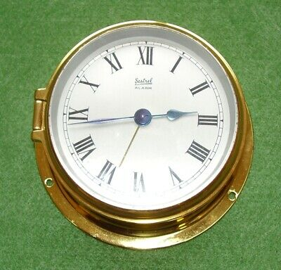 Vintage Ships Clock Solid Brass Sestrel 8 Day & Alarm Boxed Working