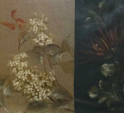 2 FRAGMENTS BEAUTIFUL FRENCH 19th CENTURY HAND PAINTED FLOWERS ON CANVAS 701