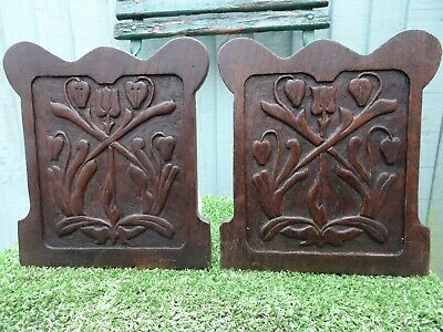 STUNNING PAIR: 19thC ART NOUVEAU WOODEN OAK PANELS WITH STYLISED FLOWERS c1890s