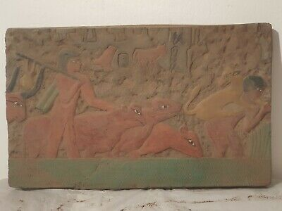 Rare Antique Ancient Egyptian Stela Scene Farmers Feeding Cows Farm1820-1740BC