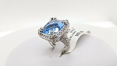 Judith Ripka Sterling Silver Blue Sapphire CZ Ring - Size 7