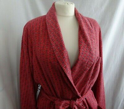 Vintage Wool & Cotton BONSOIR VIYELLA Paisley Dressing Gown Robe, Coral Red M/L