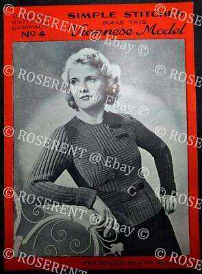 Vintage 1930s Viennese Model Jumper  - Knitting Pattern- My Weekly - supplement