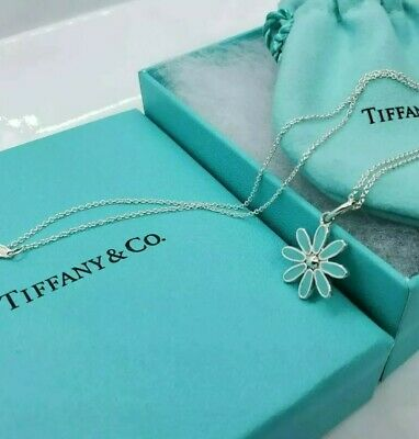"Tiffany & Co. Sterling Silver Enamel Blue Daisy Flower Pendant 18"" Chain"