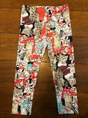 girls CHRISTMAS CAT LEGGINGS pants STOCKINGS black red LOL VINTAGE size 5T
