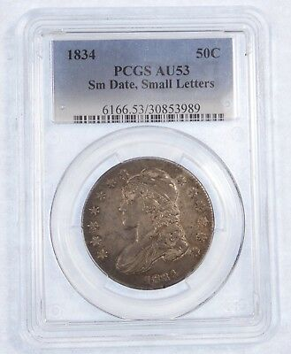 1834 Capped Bust/Lettered Edge Silver 50c SMALL Date/SMALL Letters PCGS AU 53
