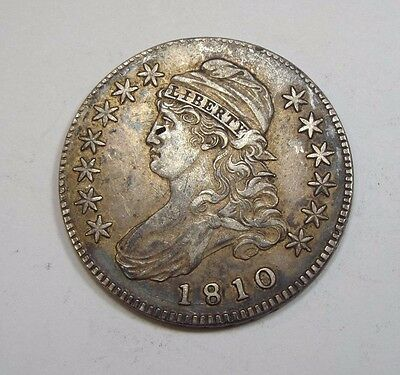 BARGAIN 1810 Capped Bust/Lettered Edge Half Dollar ALMOST UNC Silver 50-Cents
