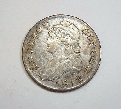 1812 Capped Bust/Lettered Edge Half Dollar EXTRA FINE Silver 50-Cents