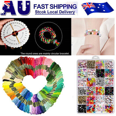 100 Coloured Egyptian Cotton Embroidery Cross Stitch Thread Floss + Letter Beads