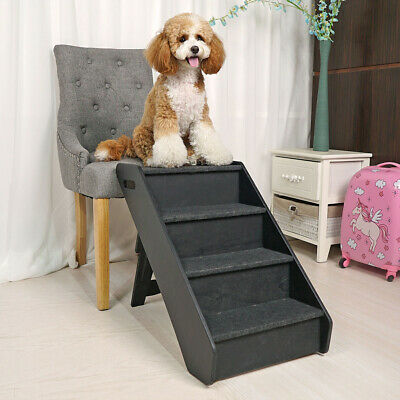 Dog Pet Stairs 4 Steps Folding Climb Ladder Pet Puppy Stairs for Couch/Bed Black