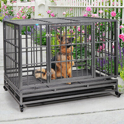 42'' Dog Crate Folding Metal Flat Top Double Beam Dog Cage with Removable Tray