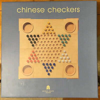 Michael Graves Chinese Checkers Wooden Board Game - NEW in Original Box