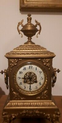 Japy Freres Antique French Brass Table Clock ~ French - Circa 1860