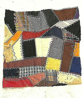 """Antique Victorian 1800's Pattern#13 Hand-Stitched Embroidered Crazy Quilt 18"""""""