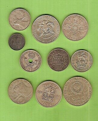 #C25.  #4. Lot Of Ten(10) Circulated  World Silver Coins