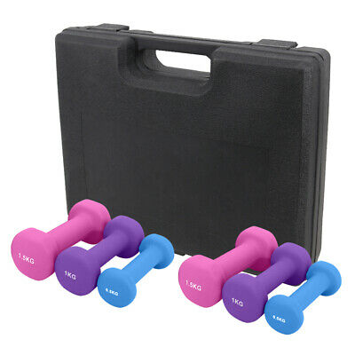 Neoprene Hex Dumbbells Kits 6KG Cast Iron Hand Weights Set Fitness Gym Exercise