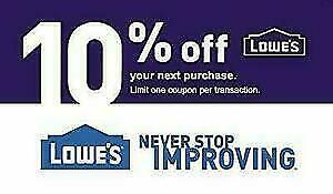 ONE (1X) 10% OFF LOWES 1Coupon - Lowe's In-store Only FAST Delivery