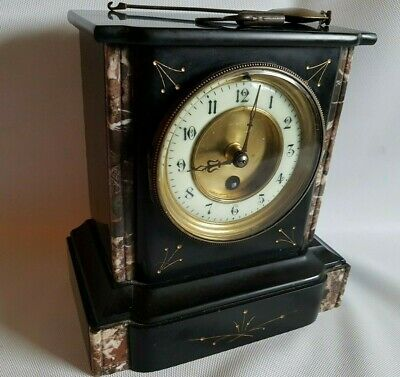Beatiful Antiqe Mantel Clock Slate & Marble Mantel Clock Gilt Decoration Working