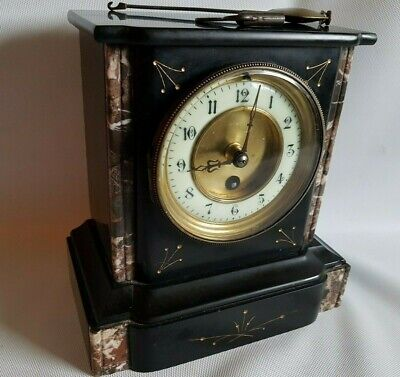 Superb Antique  Mantel Clock Slate & Marble Mantel Clock Gilt Decoration Working