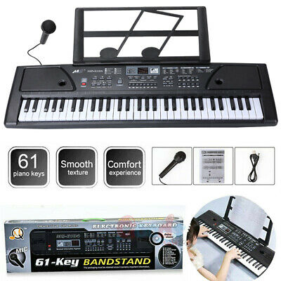 Portable Electronic Keyboard Piano 61 Key W/Music Stand Microphone For Kid/Adult