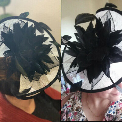 Ladies Fascinator Headband clip Feather Satin Net Hat Wedding Race Royal Ascot