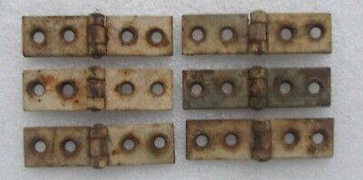 """ANTIQUE VINTAGE lot of 6 CAST IRON BUTTERFLY HINGES 3/4"""" x 2 7/8"""""""