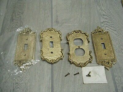 4 Vintage Brass Switch Plates / Outlet Shabby Chic