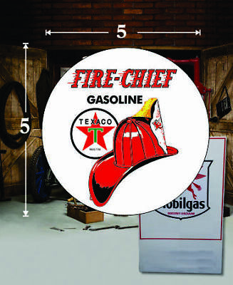 "DC114E Texaco Fire Chief 9/"" Round Vinyl Decal"