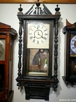 Antique American 8 Day chiming  Wall Clock with key
