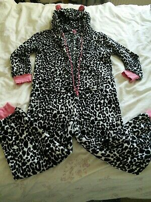 Girls Next Leopard Print Fluffy Fleece Hooded All In One Pyjamas Age 12 Years