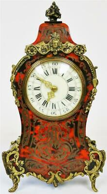 Stunning Antique Red Shell & Brass Inlaid French 8 Day Boulle Front Mantle Clock