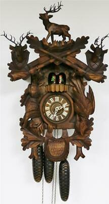 Beautiful Quality Vintage Carved 3 Weight Automation Musical Cuckoo Wall Clock
