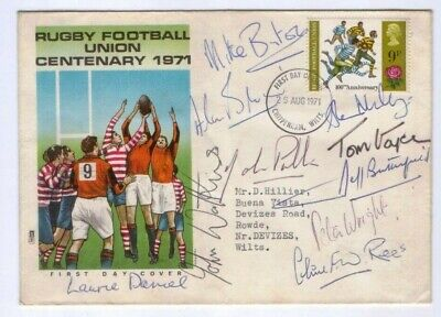 1971 Rugby Union Postal Cover 10 AUTOGRAPHS England & Wales Internationals etc