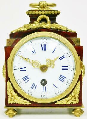 Luxury Antique Shell & Ormolu French Boulle Pendule D'Officier Carriage Clock