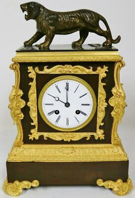 Beautiful Quality Antique French Empire 2 Tone Bronze Lion Figural Mantle Clock