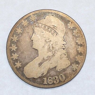 """1830 LARGE """"0"""" Capped Bust/Lettered Edge Half Dollar GOOD Silver 50c"""