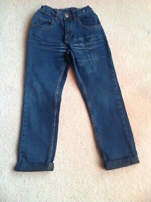 M&Co Boys Blue Adjustable Waistband Jeans Slightly Distressed Age 6-7 Years