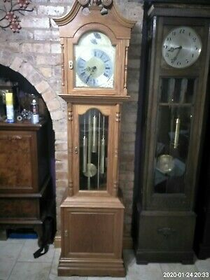 Grandfather Clock Weight Driven With Triple Chimes golden solid oak case
