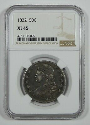 1832 Capped Bust/Lettered Edge Half Dollar CERTIFIED NGC XF 45 Silver 50c