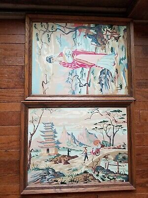 2 Vintage Asian Paint By Number PBN Chinese Oriental Scene