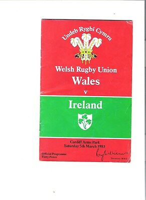 wales v ireland rugby union programme 05/03/1983