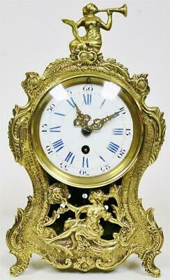 Sublime Quality Antique French 8 Day Bronze Rococo Louis XV Style Mantle Clock