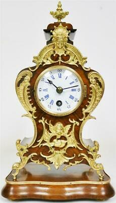 Deluxe Antique Walnut & Ormolu Lenzkirch Louis XV Style Mantle Clock On Base