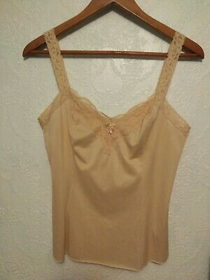 VTG Olga Beige Nylon With Stretch Lace Cami Camisole Top M
