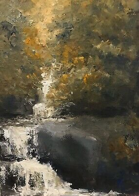 ACEO ATC Print Oil Painting Waterfall Blueridge Mountains Landscape Signed