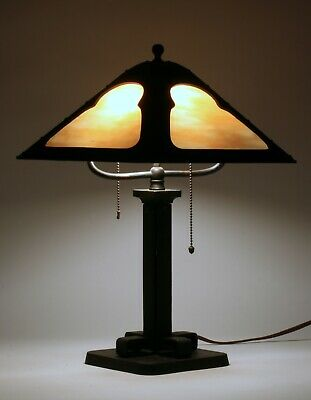 American Arts & Crafts Table Lamp - Circa 1910 - Iron-Copper-Stained Glass - B&H