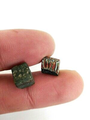 Ancient Egyption Roman Two Bead Glass Mosaic Old Egypt 2 Antique Rare Fragment